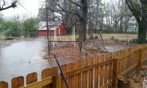 image of backyard during rain