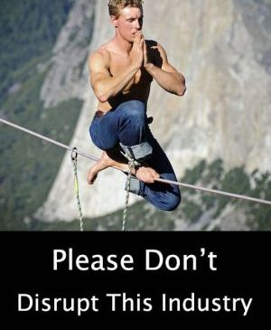 """tightrope walker with """"Please Don't Disrupt"""""""