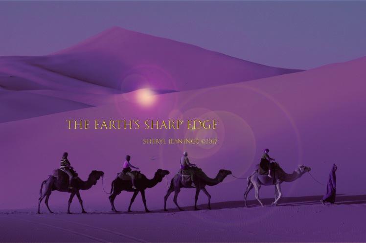 The Sky Is the Razor's Edge of Human Suffering  Photoshop image of camel caravan in desert