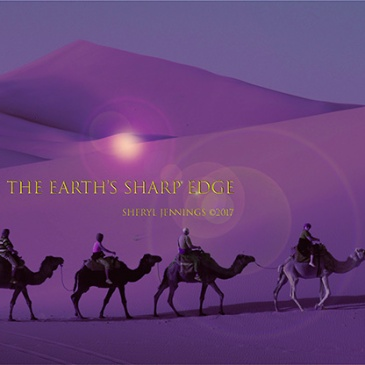 The Sky Is the Razor's Edge of Human Suffering Photoshop image of camel caravan in desert